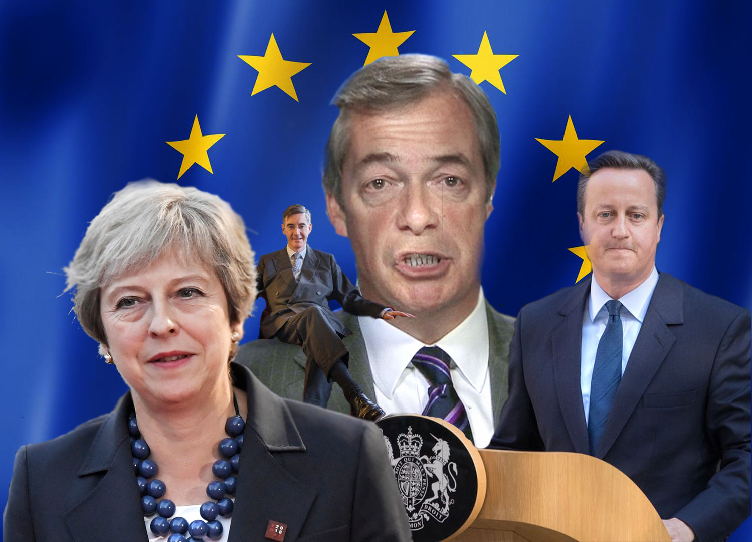 image of Nigel Farage, Jacob Rees Mogg, David Cameron and Theresa May together in front of the EU flag
