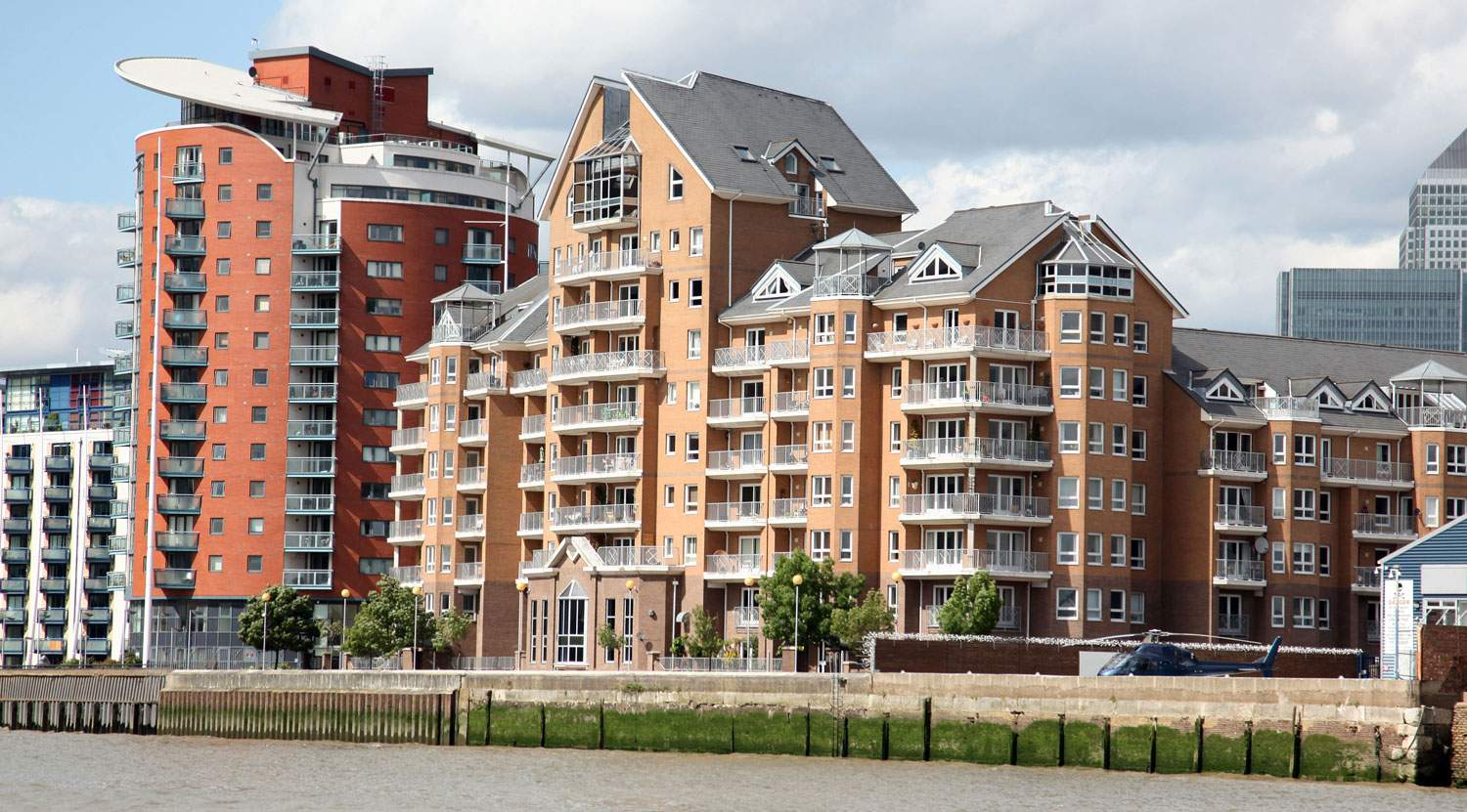 image of modern blocks of flats overlooking The Thames