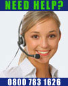 Image of call centre woman. If you are on a mobile just press me to call Customer Services.