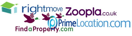 logos of Rightmove, Findaproperty, Zoopla and Primelocation